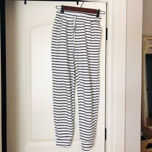 Pants - Black and White Striped Joggers Size S